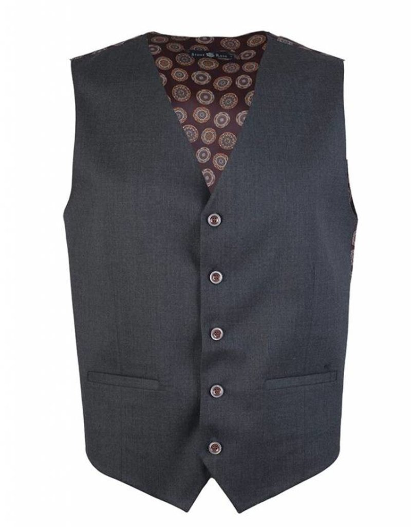 Stone Rose Stone Rose-Solid Vest W/ Cirlce Design Lining