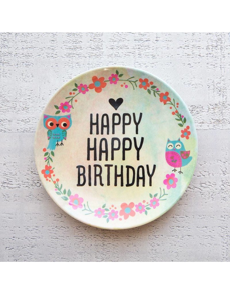 natural life natural life happy happy birthday mini melamine plate