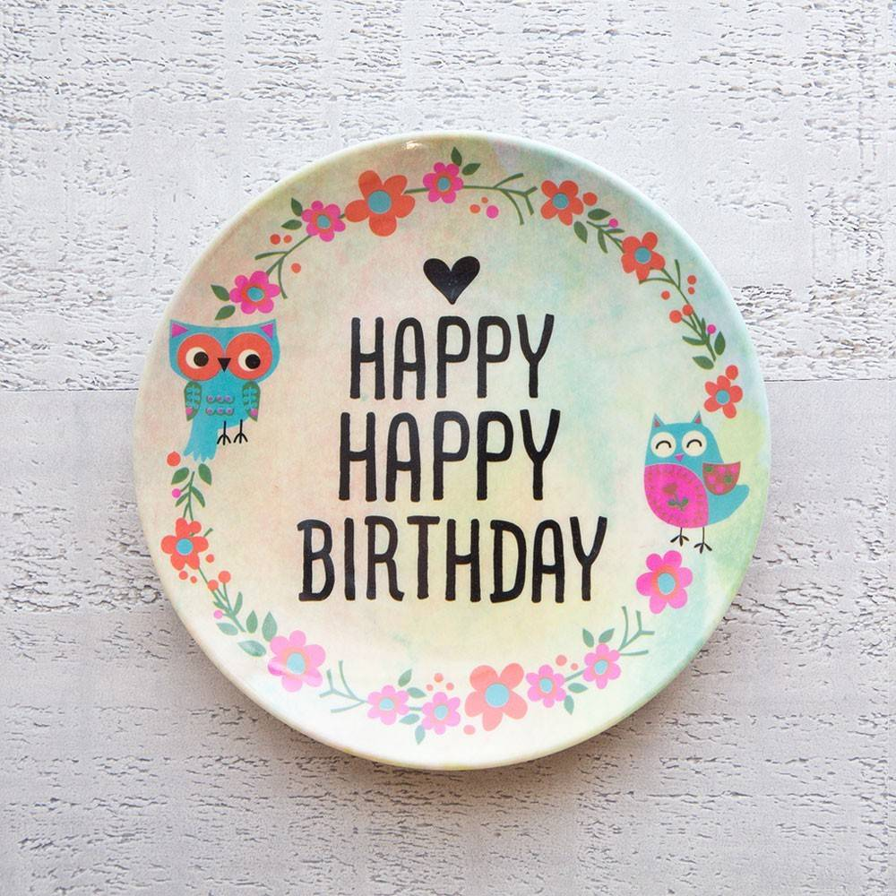 natural life natural life happy happy birthday mini melamine plate