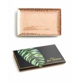 rosanna rosanna jet setter tray greek key pink & gold large