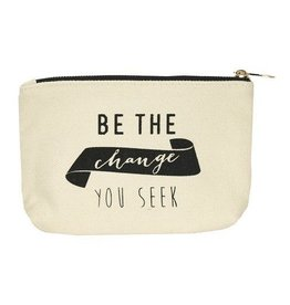 lucky feather change canvas pouch