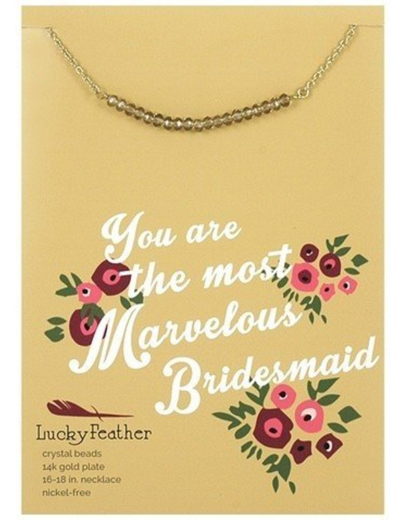 lucky feather lucky feather cherishing stone bridesmaid necklace