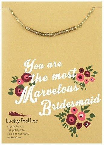 lucky feather cherishing stone bridesmaid necklace