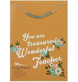 lucky feather cherishing stone teacher necklace