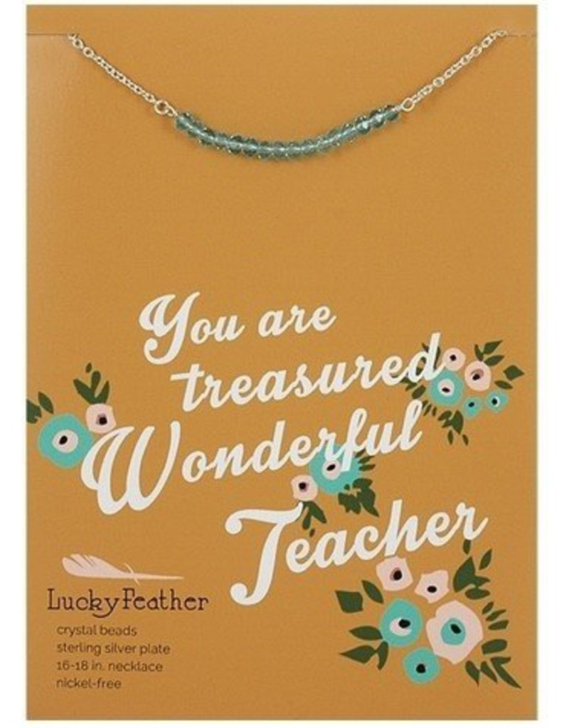 lucky feather lucky feather cherishing stone teacher necklace