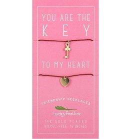 key + heart friendship necklace