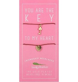 lucky feather key + heart friendship necklace