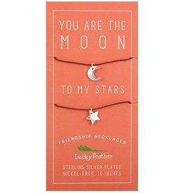lucky feather moon + stars friendship necklace