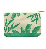 lucky feather teal palms large canvas pouch