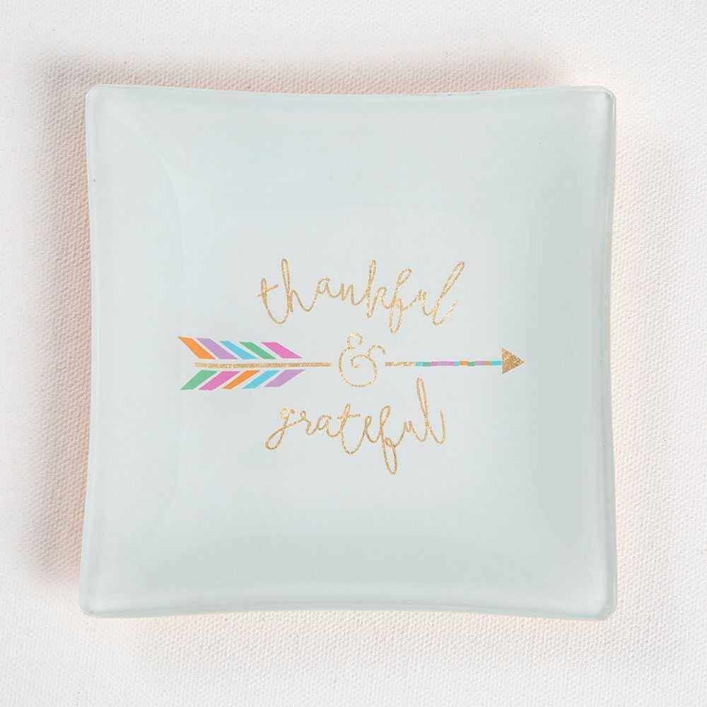 natural life natural life thankful & grateful square glass dish