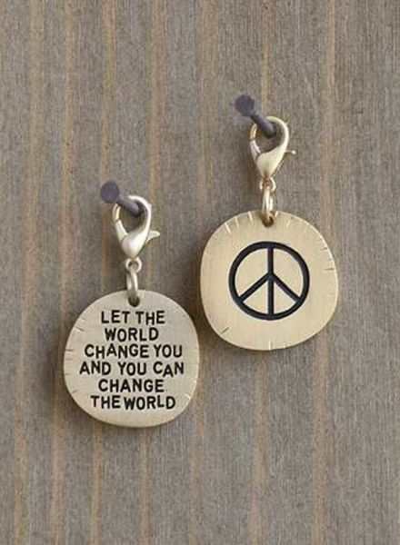 natural life peace sign change the world junk market charm