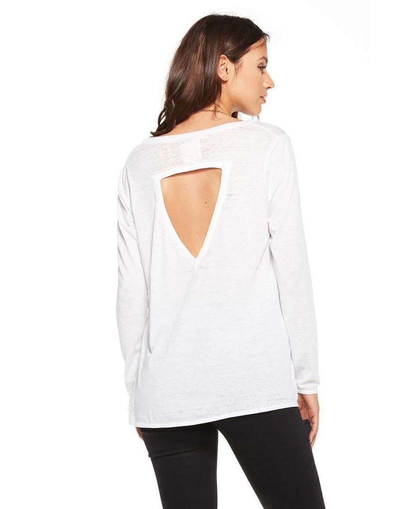 chaser chaser deep v flounce l/s tee