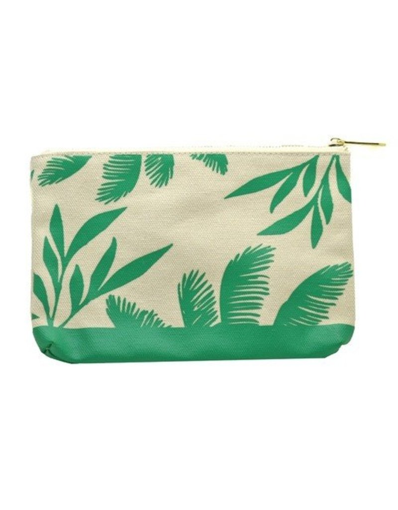 lucky feather lucky feather teal palms large canvas pouch
