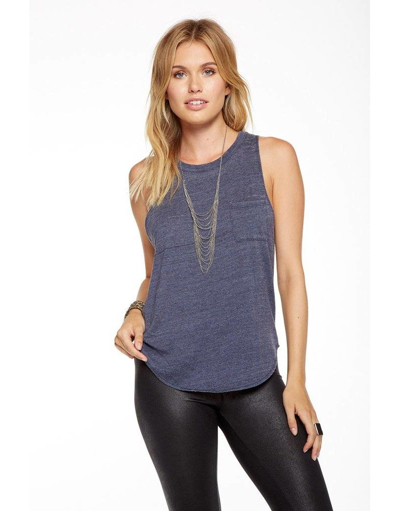 chaser chaser shirttail pocket muscle tank