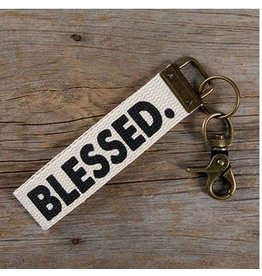 natural life natural life canvas key fob blessed