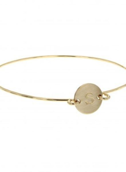 lotus jewelry studio initial token bangle