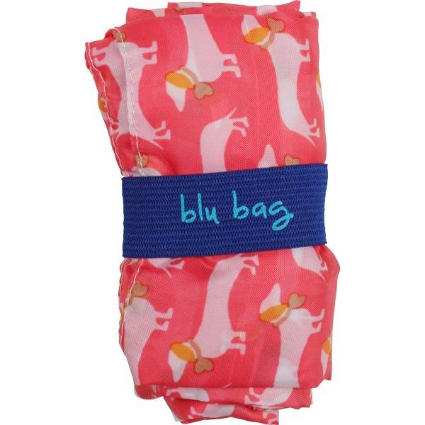 rock flower paper dachshund pink blu bag