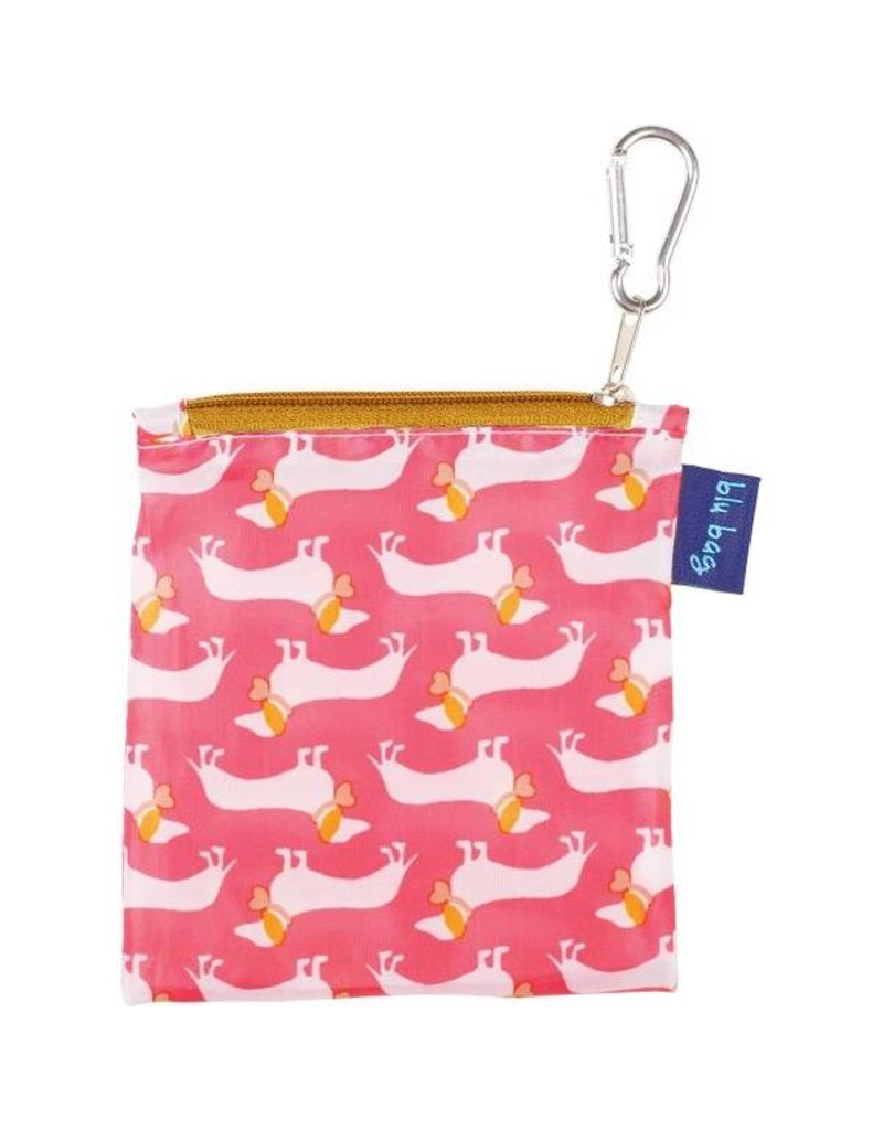 rock flower paper dachshund pink blu bag