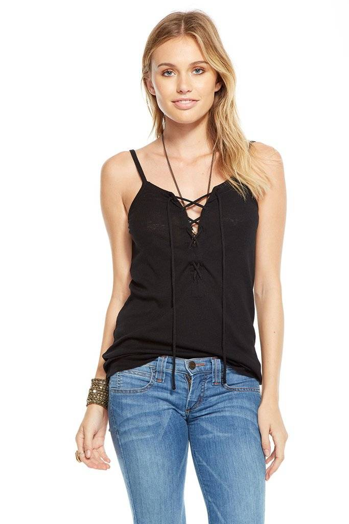 chaser chaser rib lace up cami