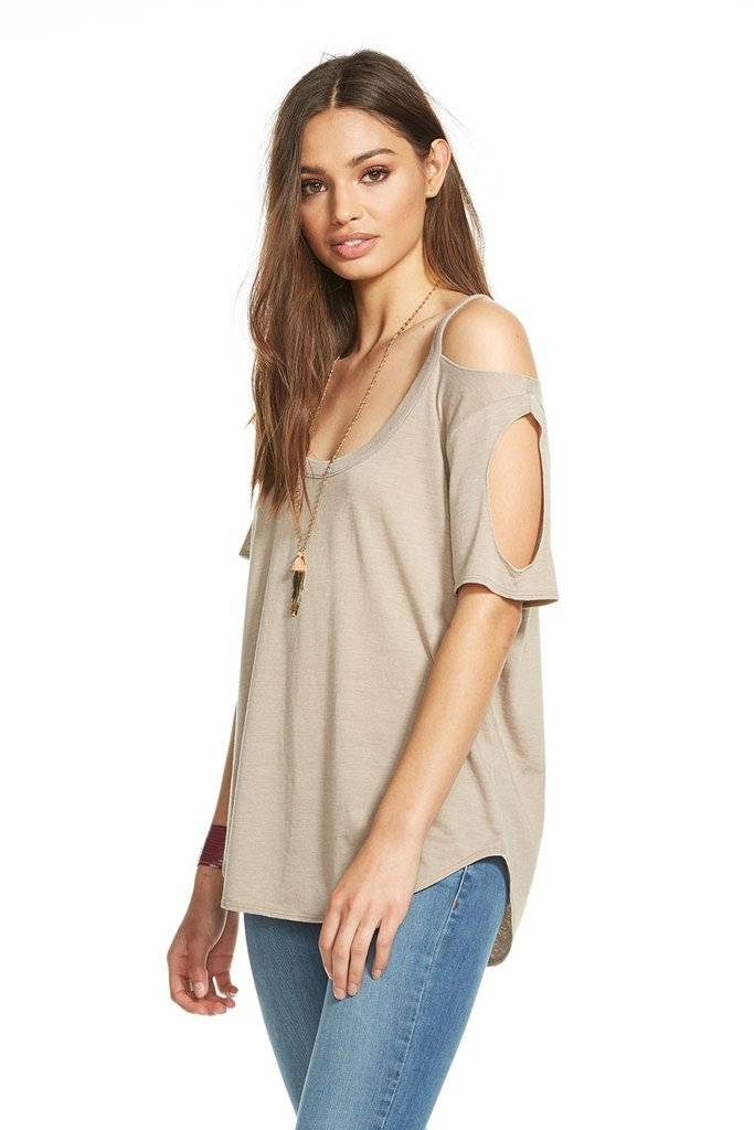 chaser chaser double cold shoulder tee