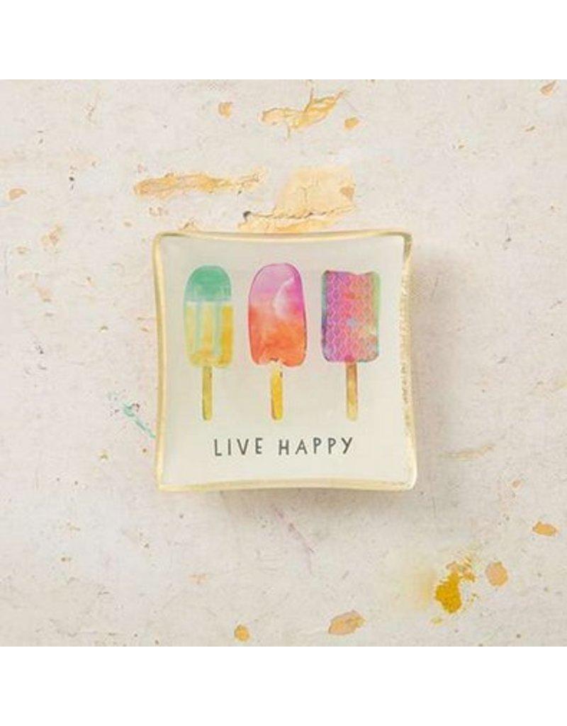 natural life natural life live happy mini glass tray