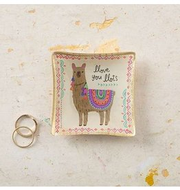 natural life llama mini glass tray