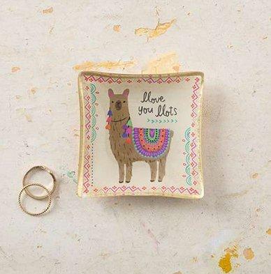 natural life natural life llama mini glass tray