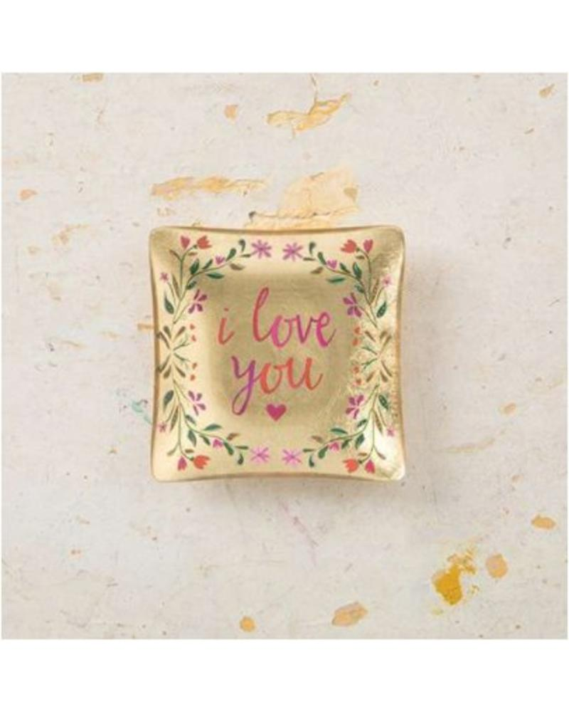 natural life natural life i love you mini glass tray