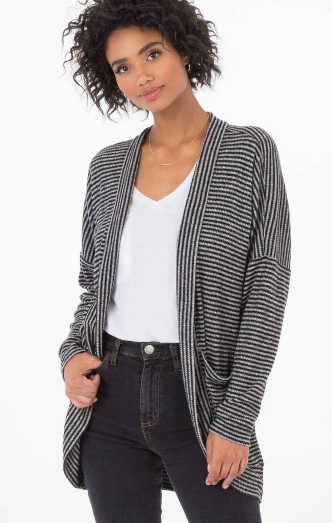 z supply z supply striped brushed rib cardigan