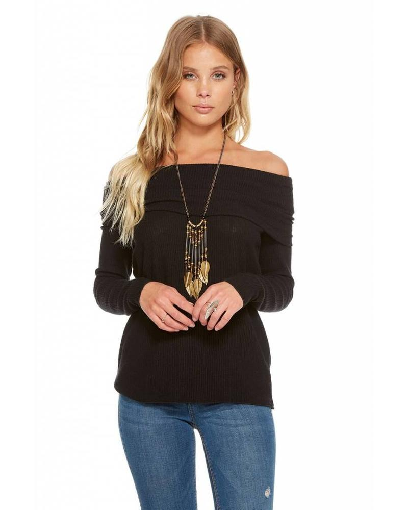 chaser chaser love rib off shoulder pullover