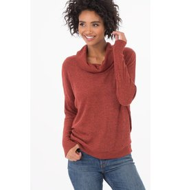 z supply brushed rib cowl neck sweater