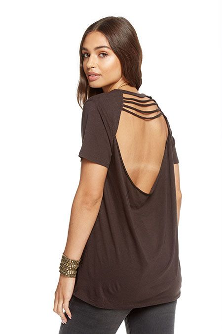 chaser chaser strappy drape back tee