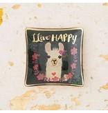 natural life natural life live happy llama glass tray