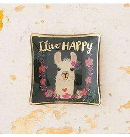 natural life live happy llama glass tray