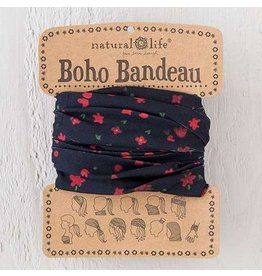 natural life black red flowers boho bandeau
