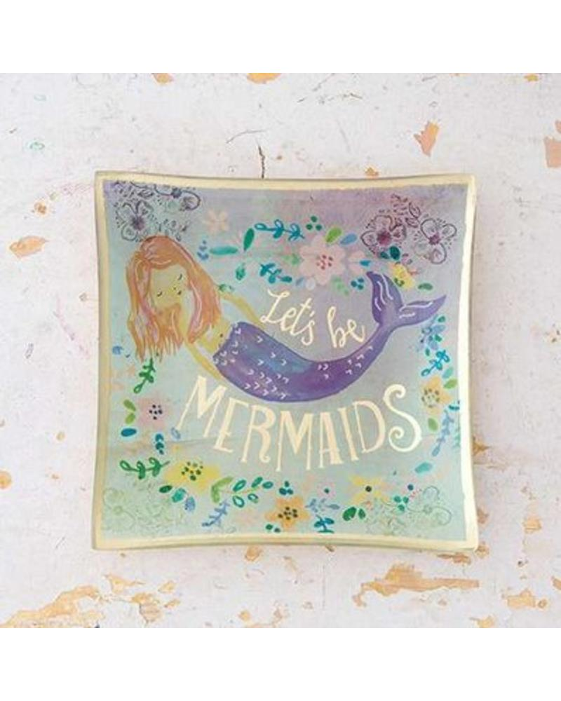 natural life natural life lets be mermaids glass tray