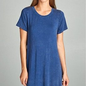 Ellison Washed Out Solid Tee Dress Navy