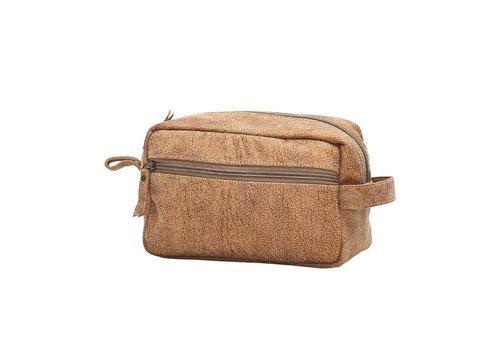 Myra Leather Shaving Kit Bag Brown