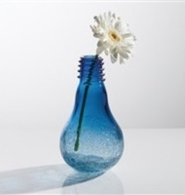 Torre & Tagus Lightbulb Vase- Blue Crackle