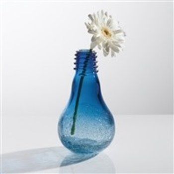 Torre & Tagus Lightbulb Vase- Blue Crackle