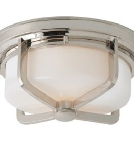 Visual Comfort Large Milton Flush Mount Light in Polished Nickel and White Glass
