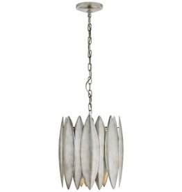 Visual Comfort Hatton Small Pendant Light in Burnished Silver Leaf