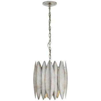Hatton Small Pendant Light in Burnished Silver Leaf