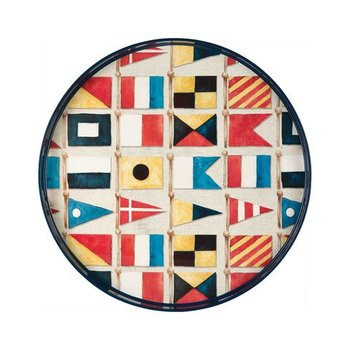"Rockflowerpaper Nautical Flags Tray 18""sq."