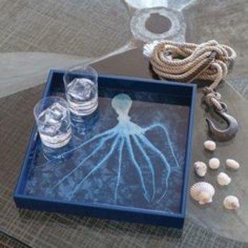 """Rockflowerpaper Octopus Indigo Tray- 15"""""""