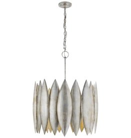 Visual Comfort Hatton Large Pendant Light in Burnished Silver Leaf