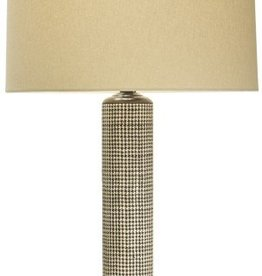 The Natural Light Houndstooth Lamp w/Linen Shade