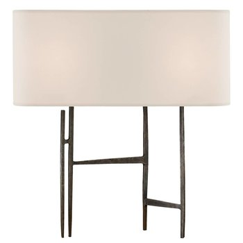 Visual Comfort Vail Table Lamp in Aged Iron w/Nat. Shade