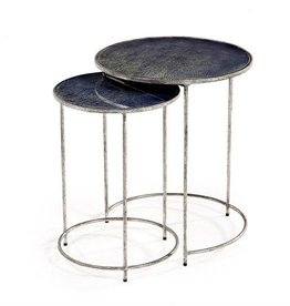 Interlude Maci Round Nesting Tables- Cobalt