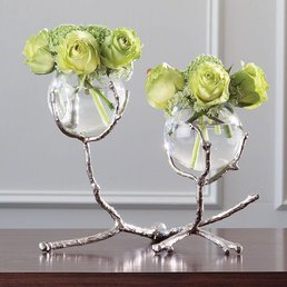 Global Views Twig 2 Vase Holder- Nickel